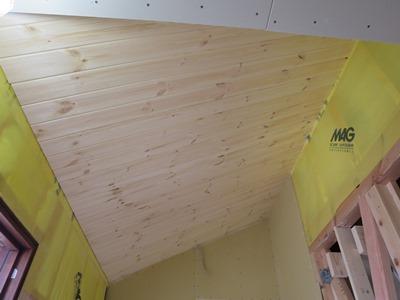 勾配天井板貼り