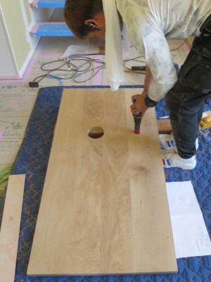 木製洗面台天板加工