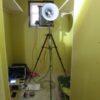 気密測定と無垢材の造作
