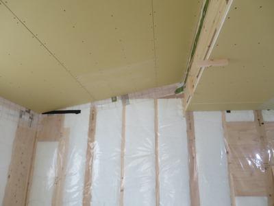 勾配天井ボード貼り