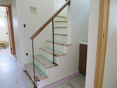 階段造作アイアン木手摺